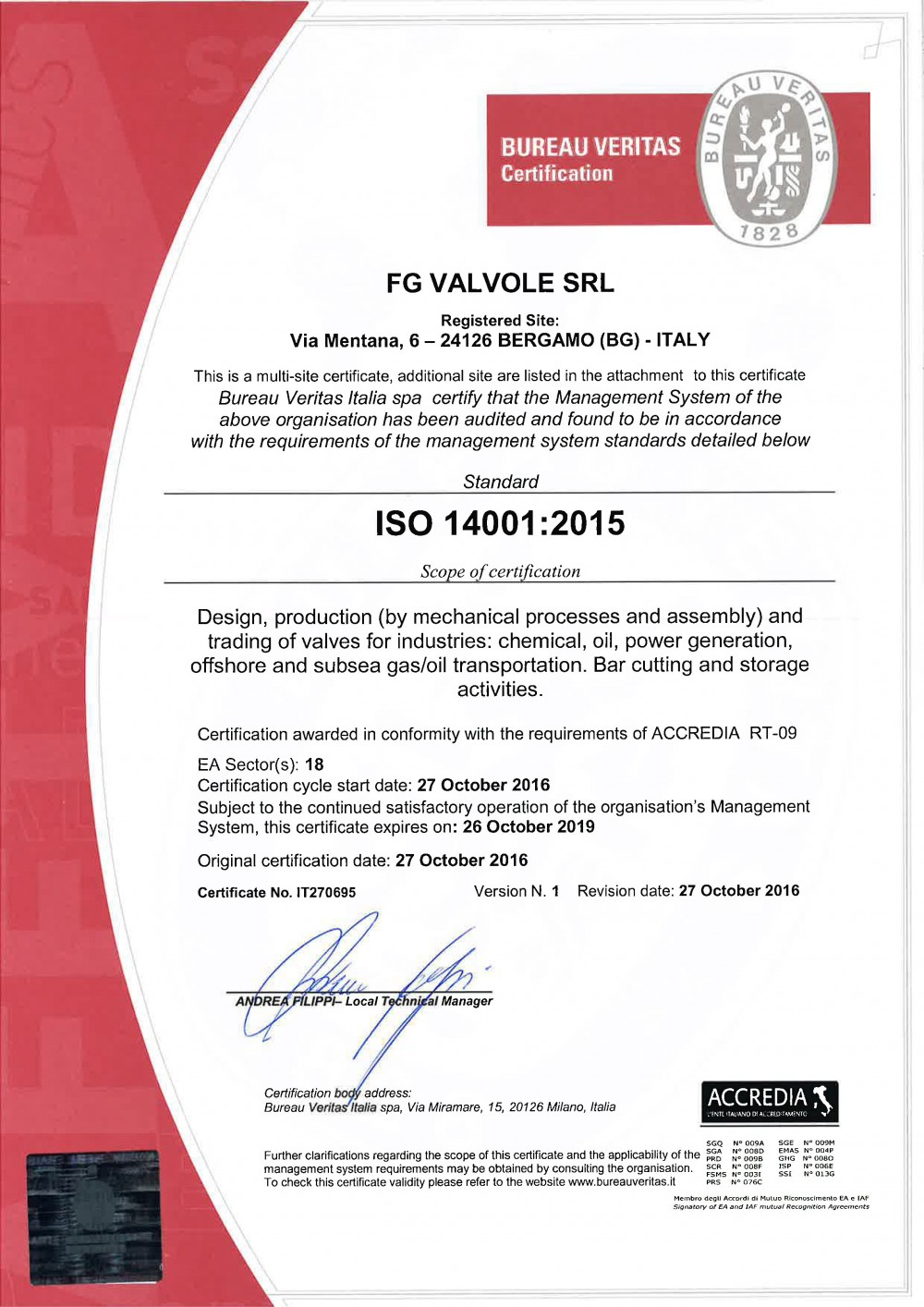 ISO 14001 AND OHSAS 18001 NEW QUALITY CERTIFICATION – FG Valvole